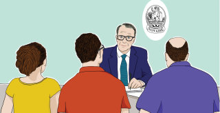 Family with legal adviser art