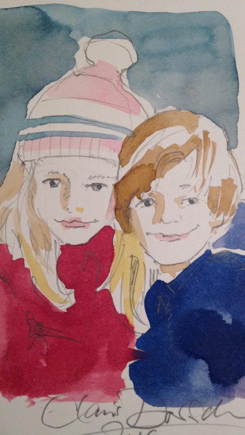 Ilustração solta de menino e menina