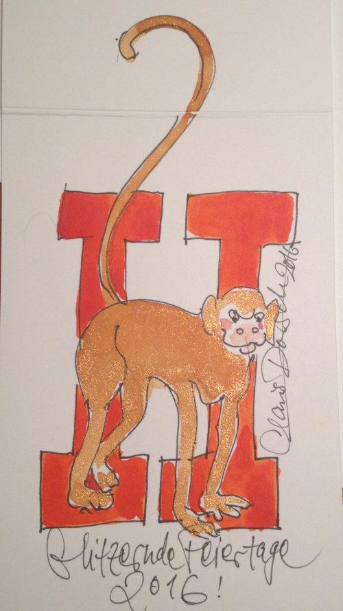 Ilustração solta de macaco com letras