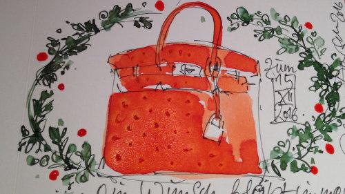Ilustração de moda solta de bolsa de mão