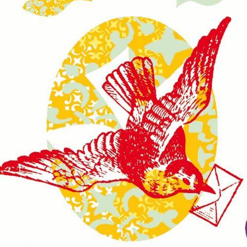 Retro illustration birds with letter
