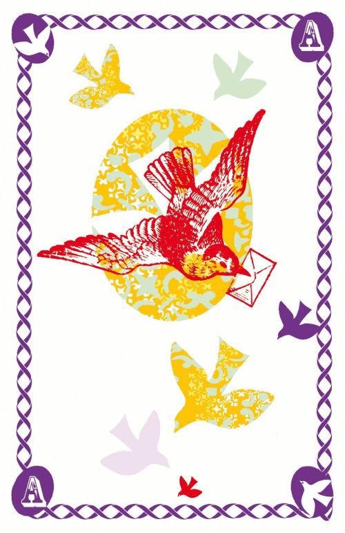 Aves de ilustração retrô com letras