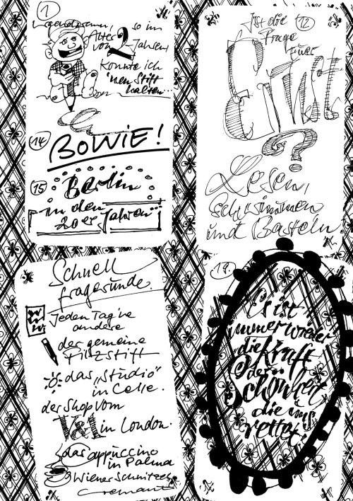 Colagem solta com letras Bowie