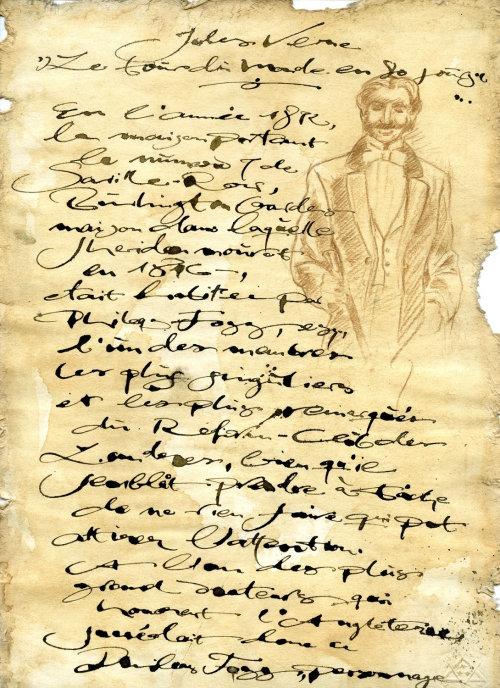 Carta de caligrafia com imagem de homem