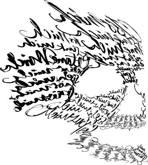 Carta de caligrafia em preto e branco