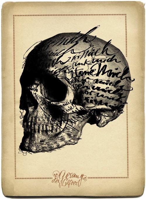 Lettering on skull