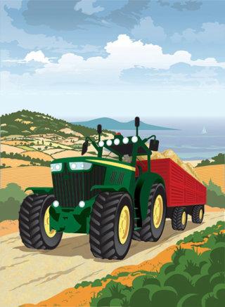 Farm Tractor in Rural Scene