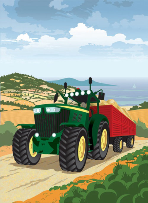 Farm Tractor in Rural Scene