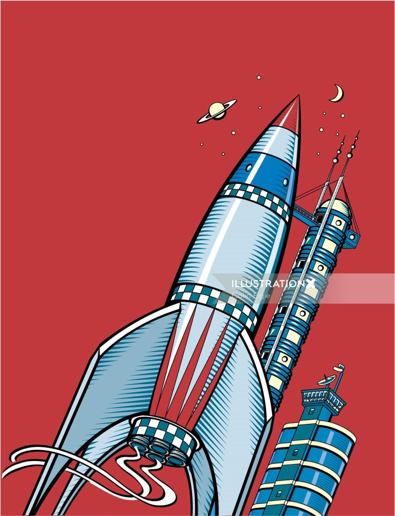 An illustration of a science fiction rocket sits on a launch pad