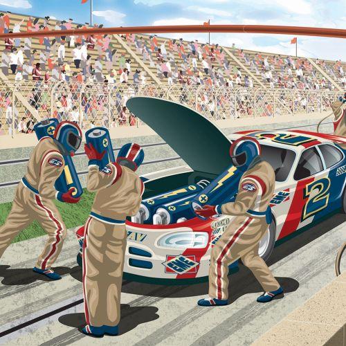 Nascar pit lane mechanics at work on racing car