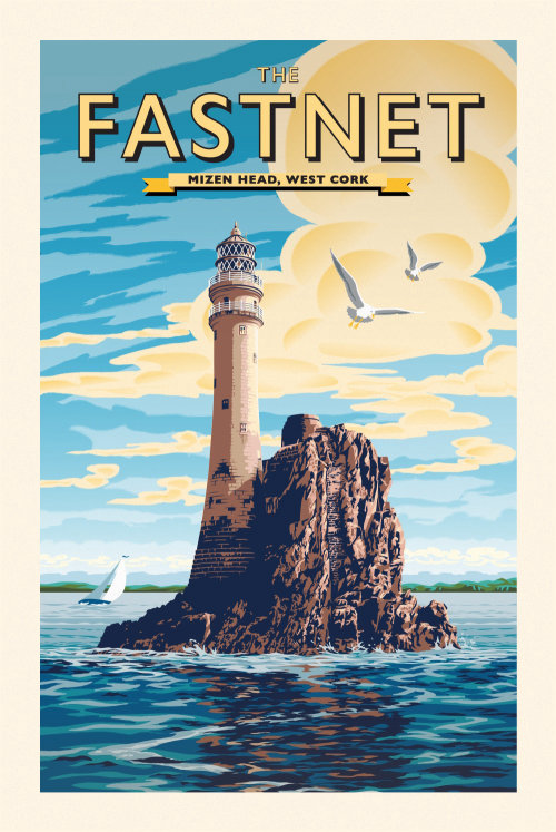 Poster Illustration of Fastnet Rock and Lighthouse