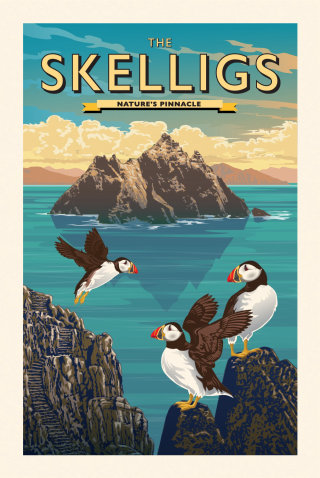 Poster Illustration for the Skellig Islands in Ireland