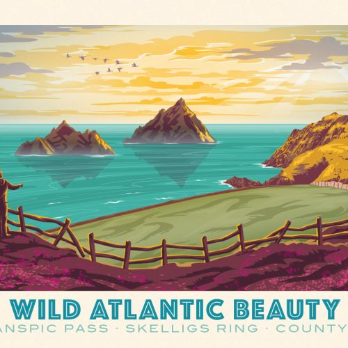 Poster illustration showing the wild coast on the west of Ireland