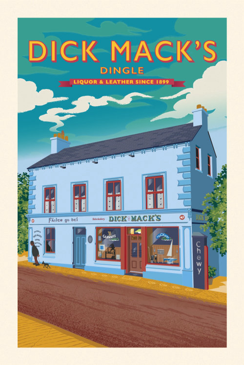 Poster illustration showing a famous old pub in Dingle