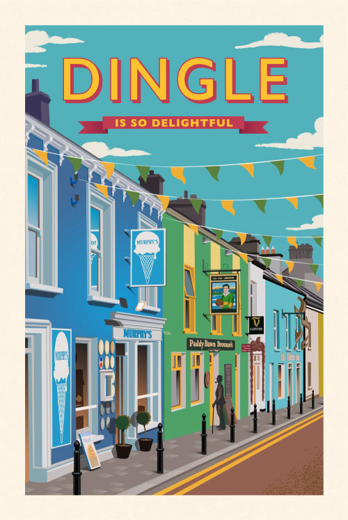 Poster showing a colourful street scene in Dingle, Ireland