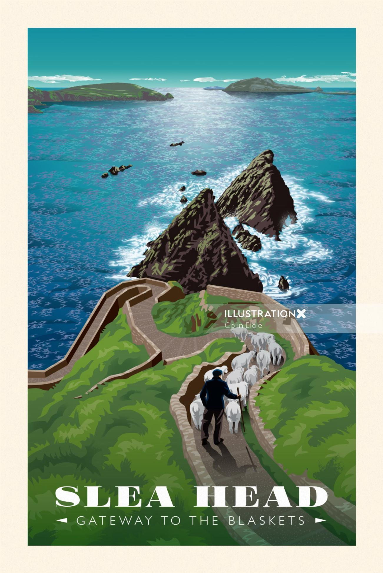 A poster showing a coastal scene with a shepherd taking his flock down to the pier at Slea Head