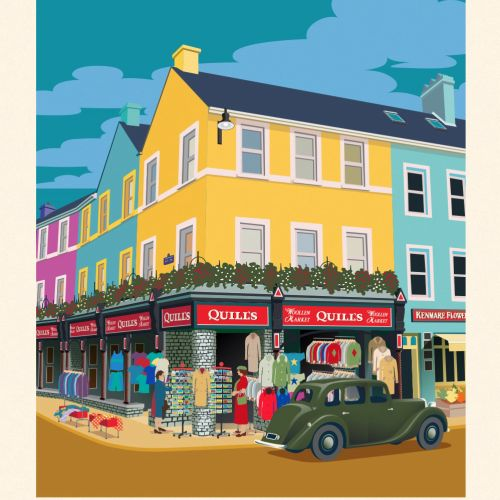 Poster for Kenmare showing a colourful shopping street