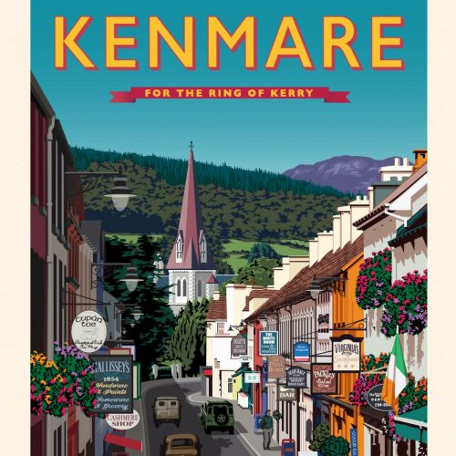 Poster for Kenmare showing a colourful shopping street with old vintage cars on the road.