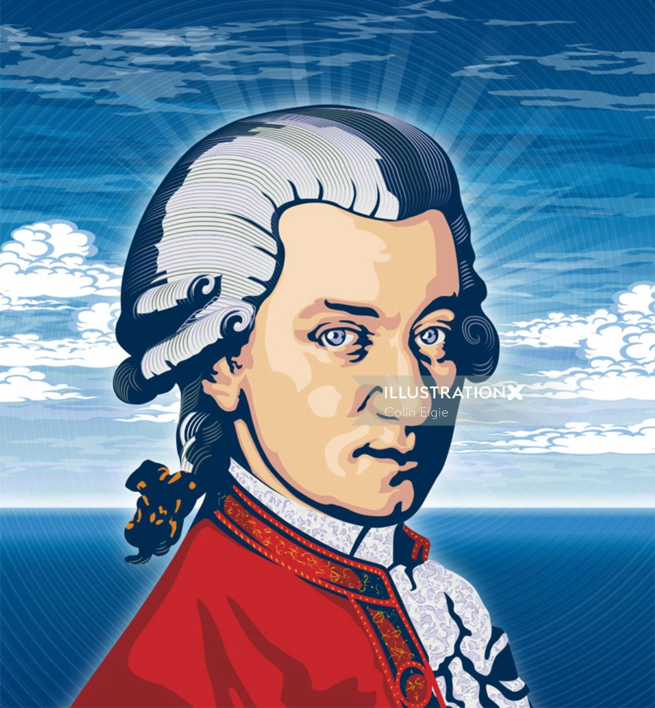 A portrait of Mozart in contemporary style