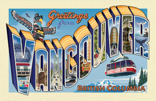 Retro postcard with pictorial letters Vancouver landmarks
