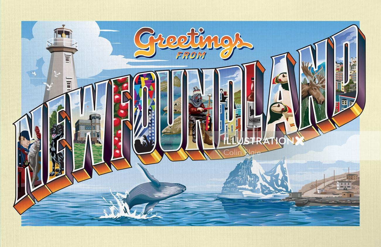 Retro postcard with pictorial letters Newfoundland landmarks