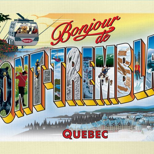 Retro postcard with pictorial letters for Mont-Tremblant landmarks