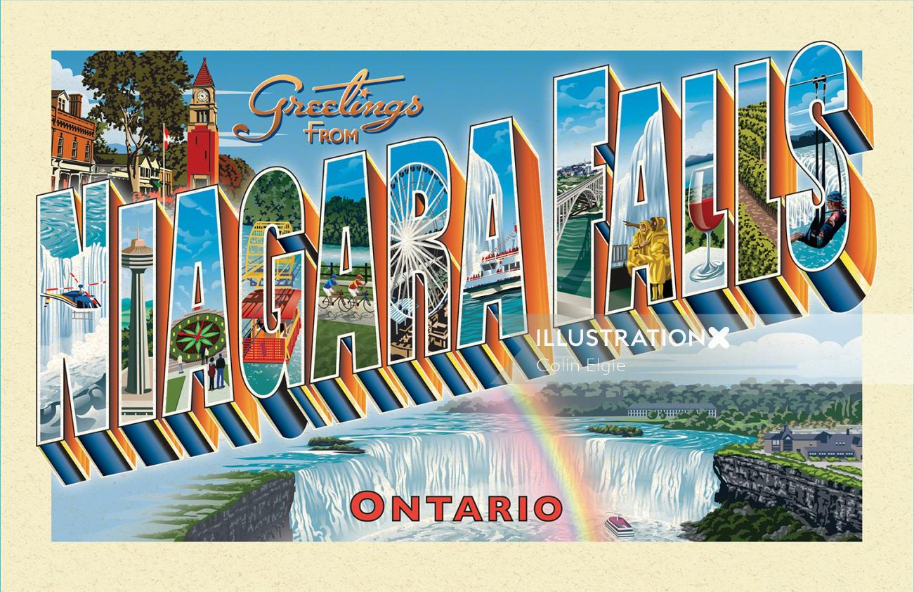 Retro postcard with pictorial letters for Niagara Falls landmarks