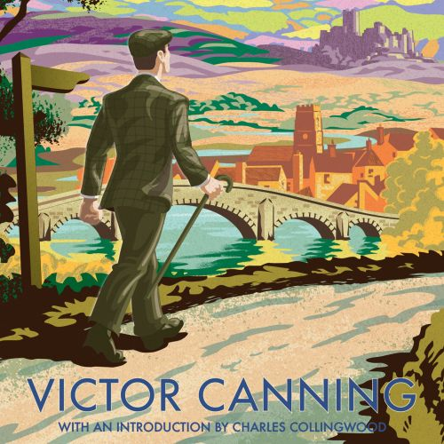 Retro inspired bookcover design showing a man striding down a country lane amidst a bucolic landscap