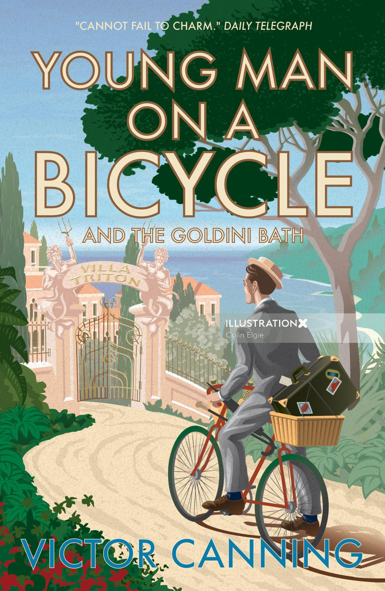 A book cover design for a collection of short stories, in which a young man on a bicycle, arrived at