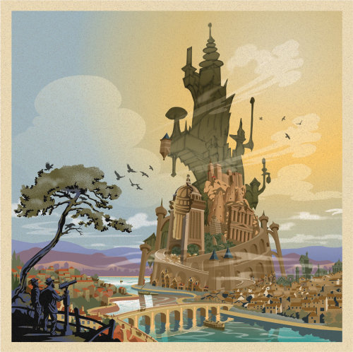 Fantasy architectural illustration of Discworld Tower of Art
