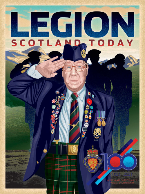 Magazine cover commemorating the 100th anniversary of the British Legion Scotland featuring old sold