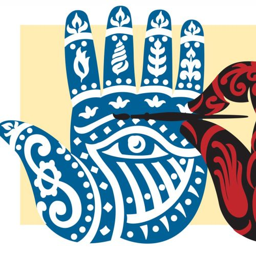 A traditional illustration of Indian Henna designs