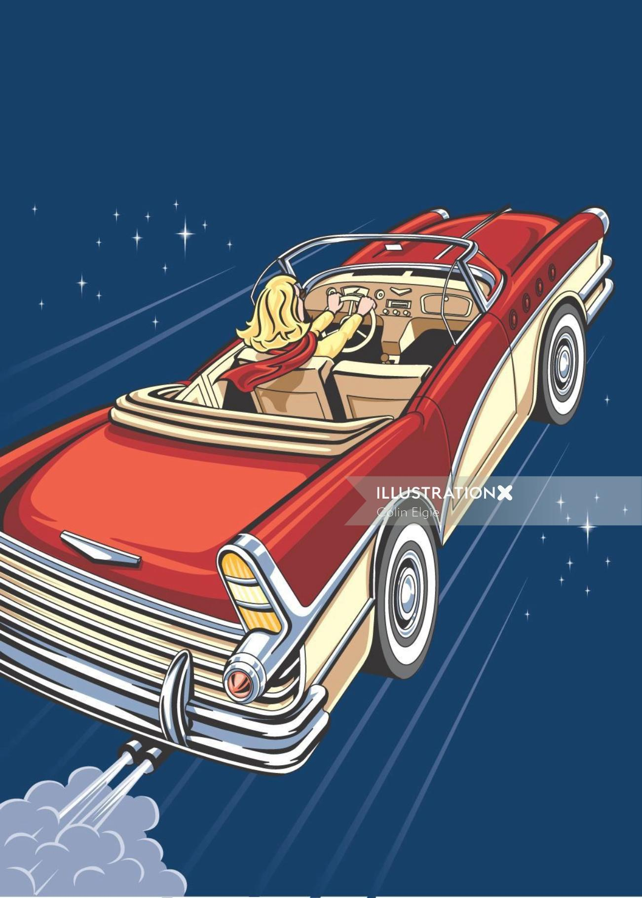 Woman riding car illustration by Colin Elgie