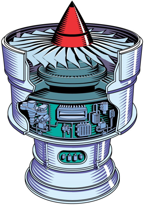 An illustration of a jet engine for Lucas Aerospace