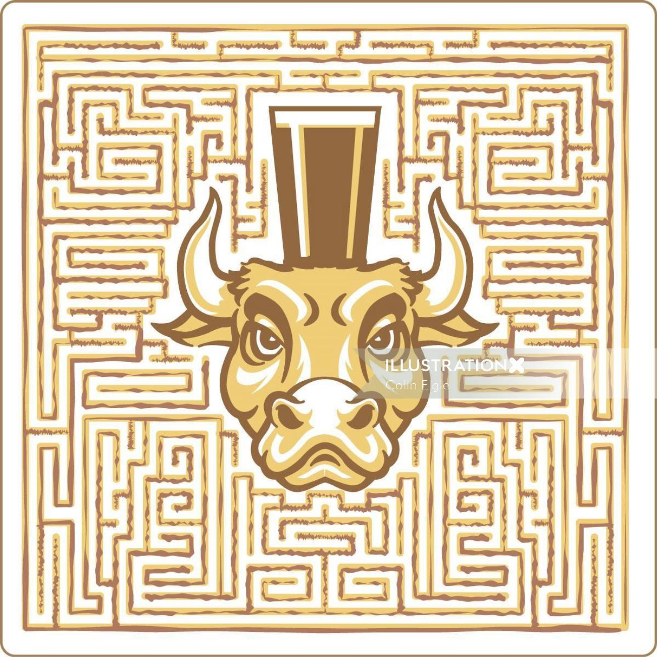 Minotaur in Labyrinth Graphic poster