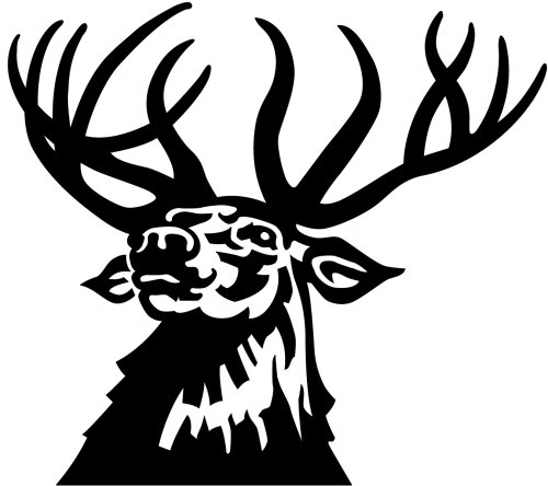 An illustration of black and white stag