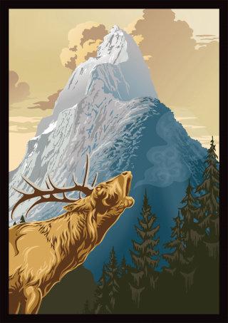 Moose illustration | Animal style gallery