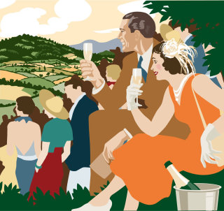Couple drinking champagne illustration by Colin Elgie