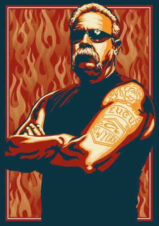 Portrait illustration of a Hell's Angel Harley Davidson
