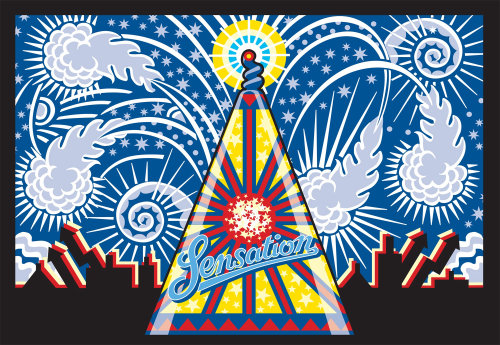 An illustration of a fireworks poster