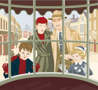 Window shoppers illustration by Colin Elgie