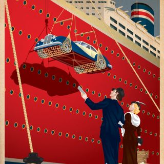 An illustration of dockside travel poster