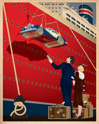 An illustration of dockside travel poster