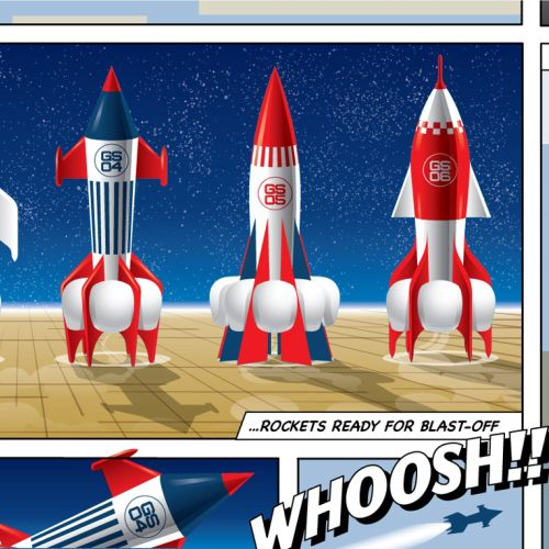 Rocket illustration | Mural style gallery