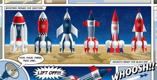 Rocket illustration | Mural style gallery