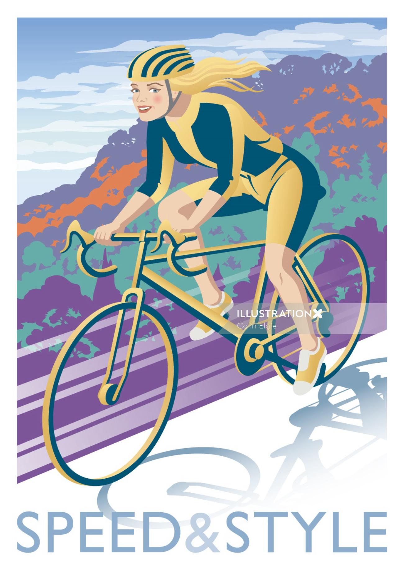 An illustration of a woman cycling