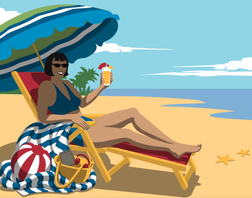 An illustration a woman at the beach under a sun parasol
