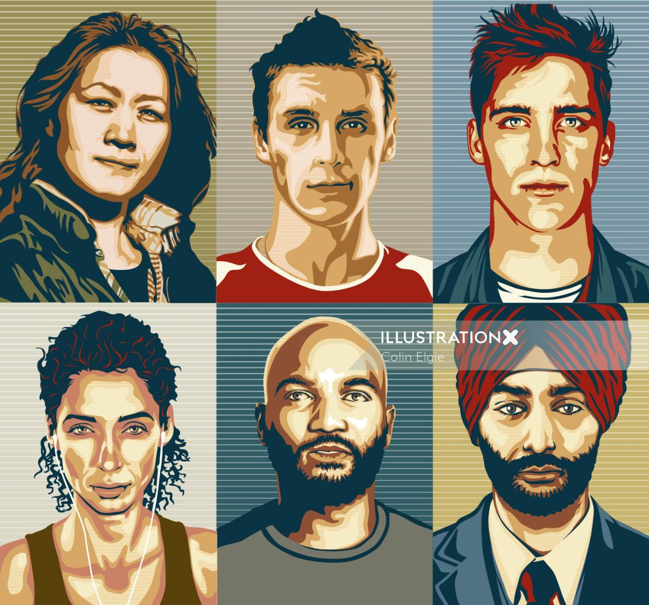 Peoples faces illustration | Portrait style gallery