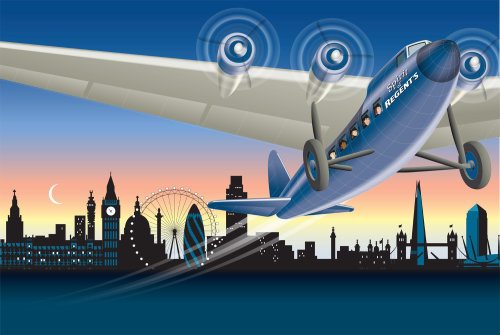 An aeroplane taking off illustration by Colin Elgie