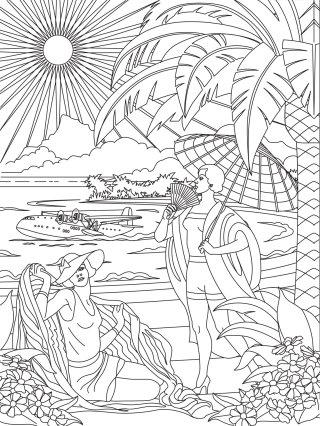 Line drawing of beach scene